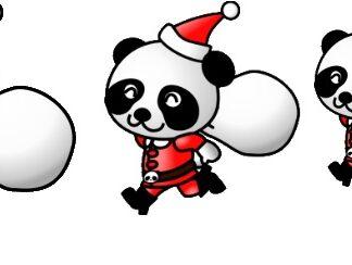 Santa, Panda, Christmas