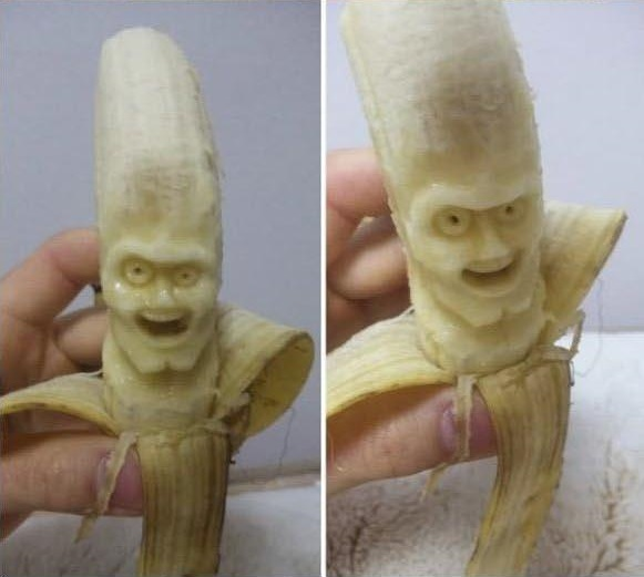 banana carving creative craft project funny faces 4