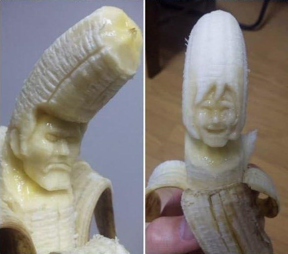 banana carving creative craft project funny faces 8