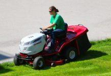 john deere, kubota, riding lawnmower, mowing, green grass, lawn