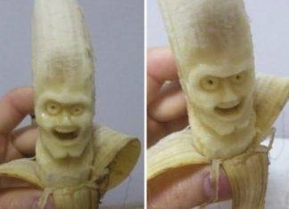 awesome banana carvings, banana faces, banana project, arts, crafts, diy
