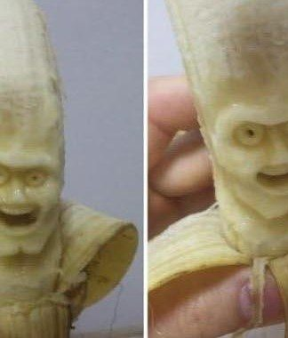 awesome banana carvings, banana faces, banana project, arts, crafts, diy