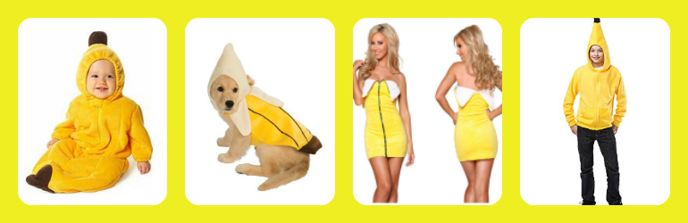 banana costumes for adults, banana costumes for kids, banana costumes for dogs, sexy banana costumes