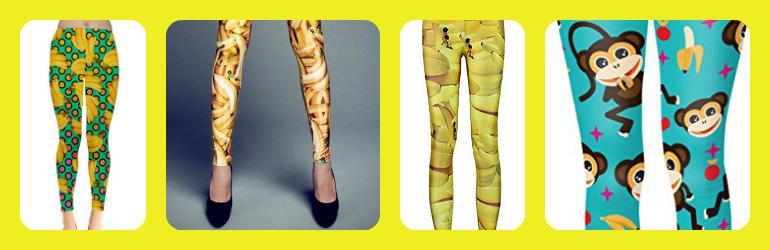 printed banana leggings, patterned banana leggings, cute banana leggings, cute printed leggings