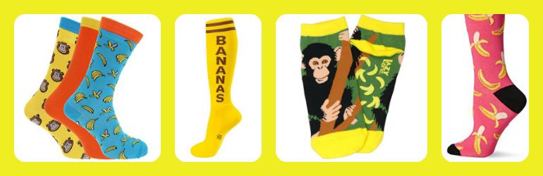cute banana socks, printed banana socks, patterned banana socks