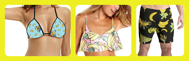 banana printed swimsuit, banana printed swim, banana printed bikini, banana bikini
