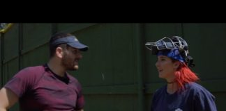 Jenna Marbles teaches Julien Solomita how to throw a fastpitch softball